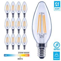 60 Watt Equivalent LED E12 Candelabra Base B11 Dimmable Clea