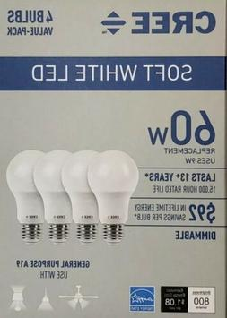 CREE 60W Equivalent Soft White  A19 Dimmable LED Light Bulb