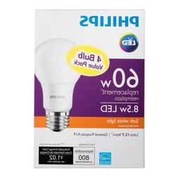 Philips 60W Equivalent Soft White 2700K A19 LED Light Bulb 4