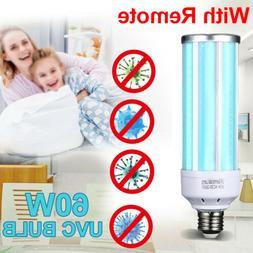 60W UV Germicidal Lamp Sterilizer Light LED UVC Bulb E27 Hom