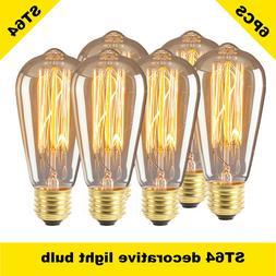 6PC ST64 Edison Light Bulb Dimmable Antique Vintage Style Li