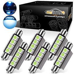 Partsam 6pcs Ice Blue 41mm 42mm Festoon 4-5050-SMD LED Light