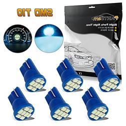 Partsam 6pcs Ice Blue T10 168 194 2825 8SMD Epistar LED Bulb