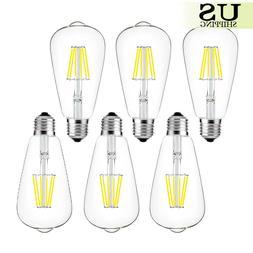 6pcs LED Filament Bulb E26 ST64 Vintage Retro Edison Bulb 4W