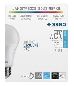 Cree 75W Equivalent Daylight  A19 Dimmable Exceptional Light