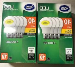 8 Pack LED 40W = 6W Soft White 40 Watt Equivalent A19 2700K