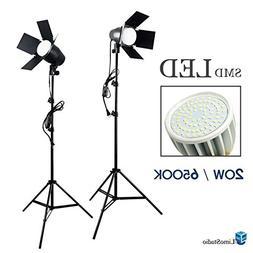 LimoStudio LED Day Light Bulb 2 pcs x Continuous Barndoor Li