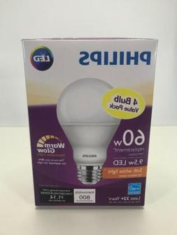 Philips A19 4 PACK 60W Replacement Bulbs 9.5W LED Soft White