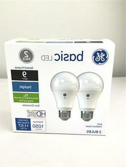 * GE Basic LED Daylight Bulbs Pack of 2 A19 75W 1050 Lumens