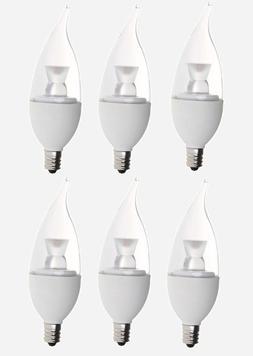 "Bioluz LED 6-pack Candelabra Dimmable LED E12 Base ""Flame Ti"