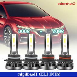 Combo White 9005+9006 LED Headlight Bulbs H/L Beam Kit Total