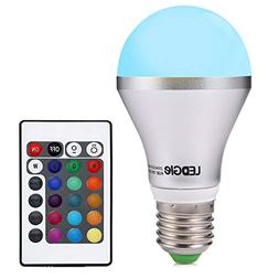 LEDGLE Dimmable A19 E26 LED Light Bulb 5W RGB 16 Colors Remo