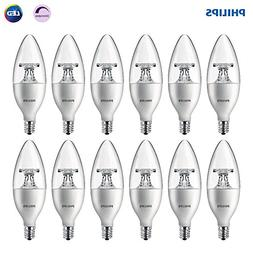 Philips LED Dimmable B11 Clear Candle Light Bulb: 300-Lumen,