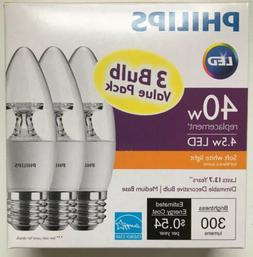 3 Pack LED PHILIPS  - 40W SOFT WHITE DIMMABLE DECORATIVE BUL