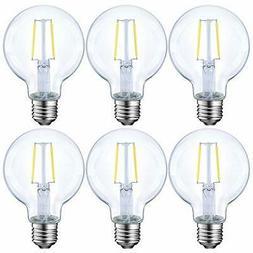 Dimmable LED Edison Light Bulb, G25 Globe Shape, 6 Pack 40 W