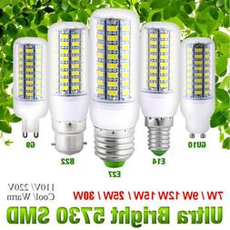 E14 E27 B22 GU10 G9 SMD5730 LED Corn Bulb Light 7-30W Cool W