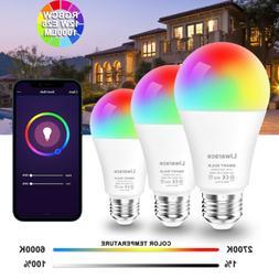 E26 Wifi Smart LED Light Bulb 12W RGBCW For Alexa Google Hom