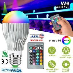 16 Color Changing Magic Light E27 9W 3W RGB LED Lamp Bulb +