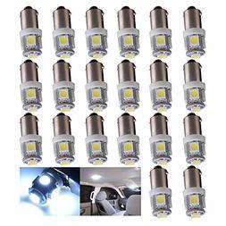 EverBrightt 20-Pack White BA9S 5050 5SMD Led License Plate L