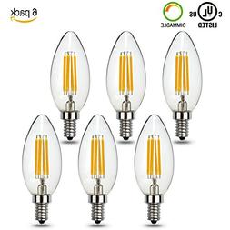 Moobibear FBL002 4W LED Candelabra Bulb 6 Pack 400 Lumens Di