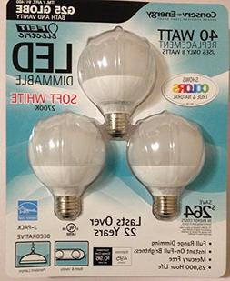 Feit 8 Watt LED G25 Light Bulbs 3-Pack  2700K Color 94 CRI