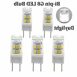 G8 Bi-pin LED Bulb 120V Daylight 6000K 50W Equivalent T4 G8