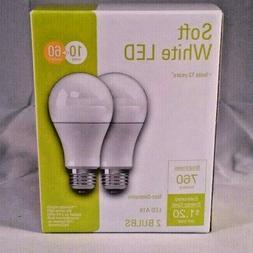 GE LED Light Bulb, A19 Soft White, 10-Watts, 2-Pk.