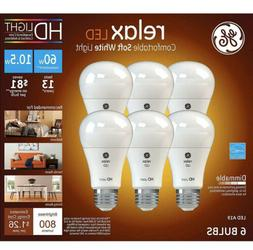 GE Relax LED 6pk Equivalent 60W A19 Comfortable Soft White L