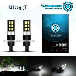 H3 CREE LED Fog Light Bulbs Conversion Kit Super Bright DRL