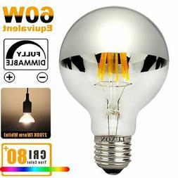 Half Chrome Light Bulb Dimmable LED Filament Vintage Bulb wi