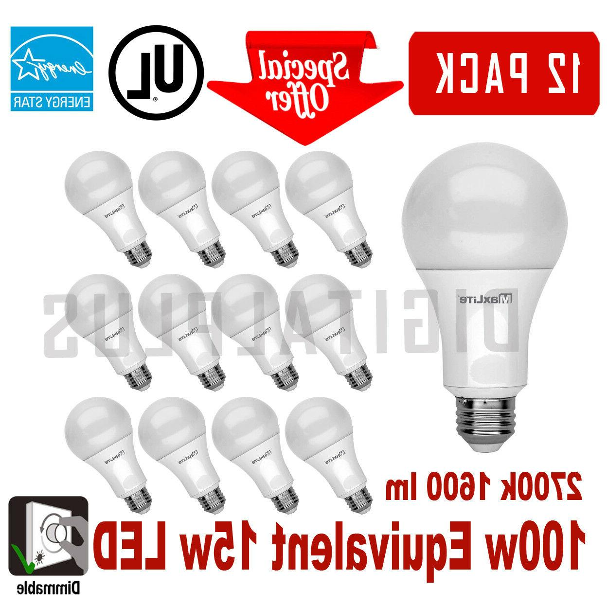 12 LED Light Bulbs MAXLITE 1600 Soft E26 Dimmable