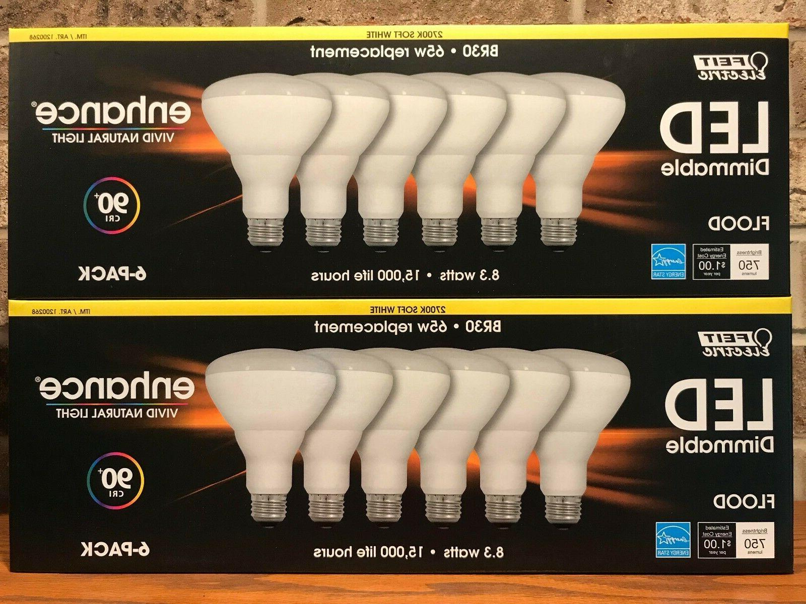12 Pack Feit Electric BR30 LED 65W Replace Dimmable Flood Li