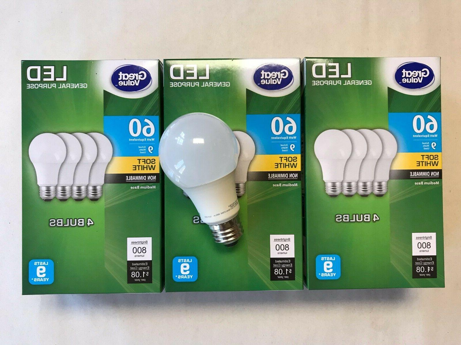 12 pack led 60w 9w soft white