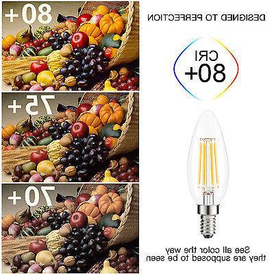12X LED Filament Light 2700K Warm White Candelabra