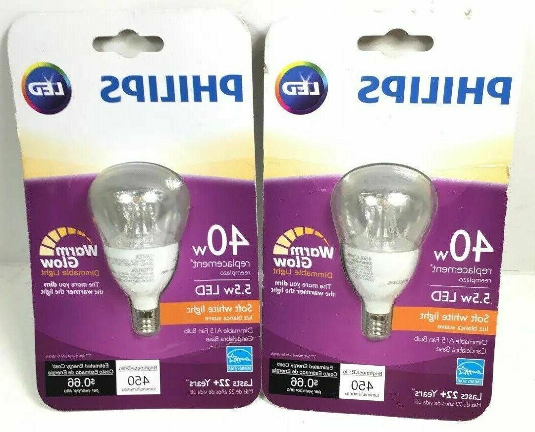 2 Philips 40W Equivalent Soft White A15 Fan LED Light Bulb E