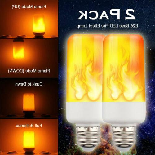 2PACK LED Flame Effect Fire Light Bulb E27 Flickering Lamp S