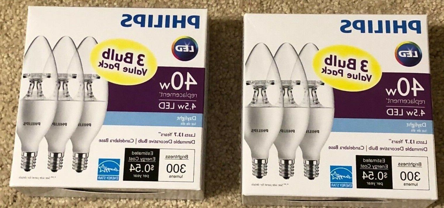 2 x 3-pack Philips 40W Equivalent DAYLIGHT B11 Candelabra Ba