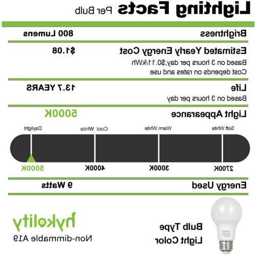 Hykolity Pack 9W A19 60W Equiv 5000K 800LM