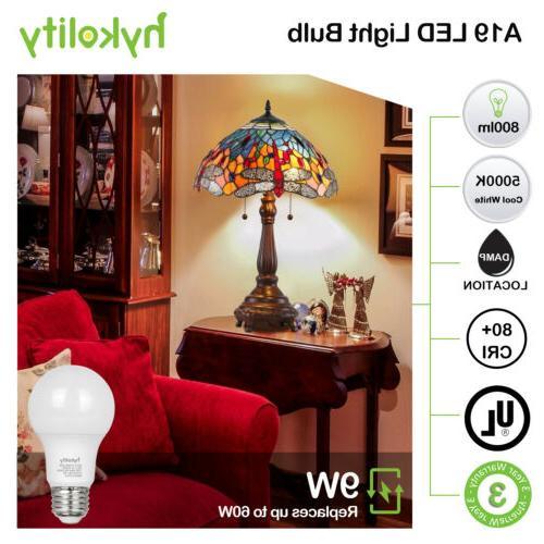 Hykolity 24 Pack 9W A19 LED 60W Equiv 800LM