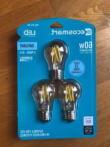 Led Daylight Bulb: 3 PACK ECOSMART LED 60W DAYLIGHT DIMMABLE LIGHT