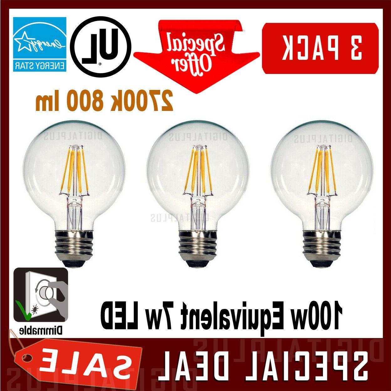 3 Vanity G25 7W Led Bulb Globe Light