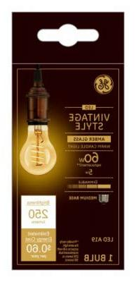 GE Lighting 36505 Amber Glass Light Bulb Dimmable LED Vintag