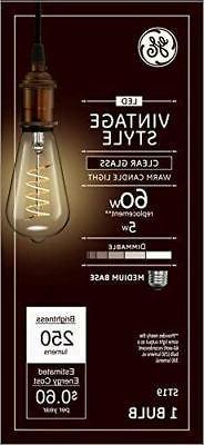 GE Lighting 36506 Clear Finish Light Bulb Dimmable LED Vinta