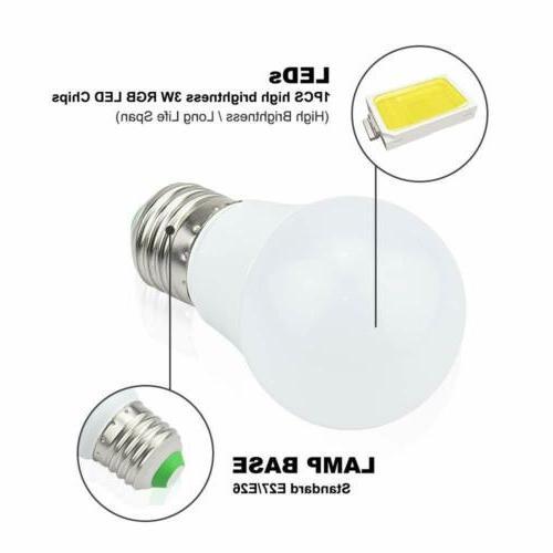 3pcs E26 LED Bulb Color Remote