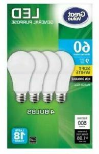 4 Pack LED 60 Watt equivalent 9W Soft White A19 non dimmable
