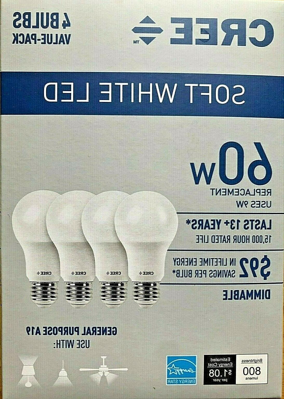 4 pack led 60w replacement a19 soft