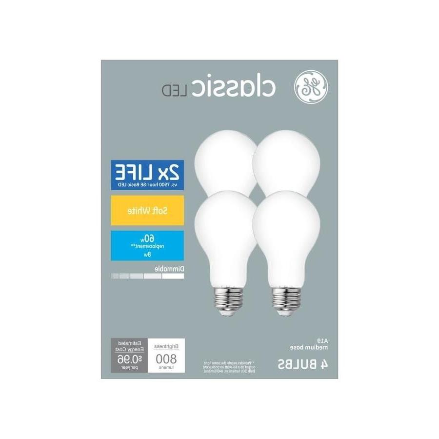4 Pack GE LED Dimmable Bulb 60W = 8W Soft White 2700K A19 E2