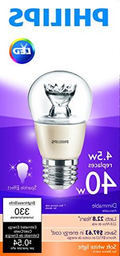 Philips 435453 40 Equivalent / Standard Dimmable Light Bulb, Soft