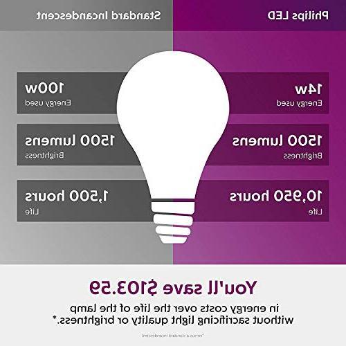 Philips LED Non-Dimmable Frosted Light 5000-Kelvin, 14-Watt Medium Screw 4-Pack, 455717