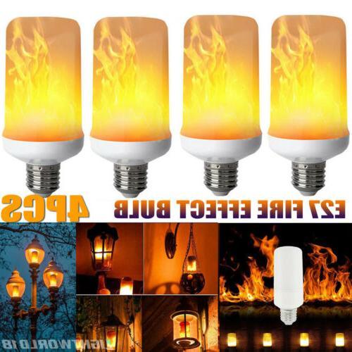 4x E27 LED Flicker Flame Light Bulb Simulated Burning Fire E